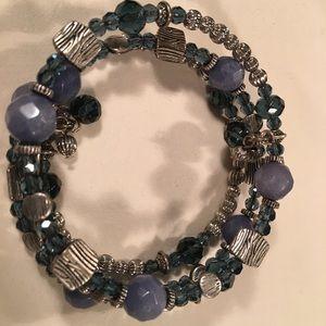 Denim-wrap around blue and silver bracelet